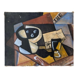 Early 20th Century Cubist Still Life in Manner of Braque, Mixed Media on Canvas For Sale