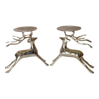 Vintage Silver Plate Reindeer Candle Holders - A Pair For Sale
