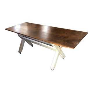 Antique Hand Painted Pine Kitchen Refractory Dining Table For Sale