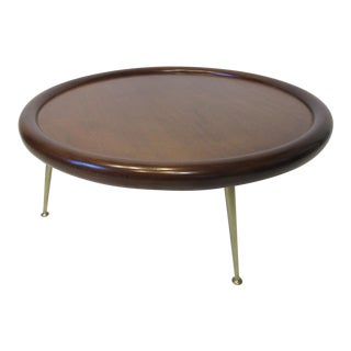 t.h. Robsjohn Gibbings Walnut Bull Nose Coffee Table by Widdicomb For Sale