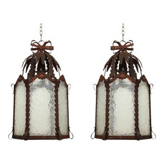 French Patinated Metal and Wavy Glass Lanterns - a Pair For Sale