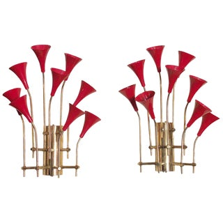 Red Enameled Trumpets Sconces by Fabio Ltd - a Pair For Sale