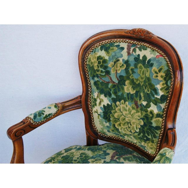 Scalamandre Marly Velvet Tapestry Fabric Walnut Armchair For Sale - Image 9 of 11
