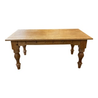 Late 20th Century French Country Farm Style Dining Table For Sale
