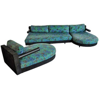 1980s Vintage Antonio Citterio for B&b Italia Sity Modular Sectional Sofa and Chaise Lounge Set For Sale