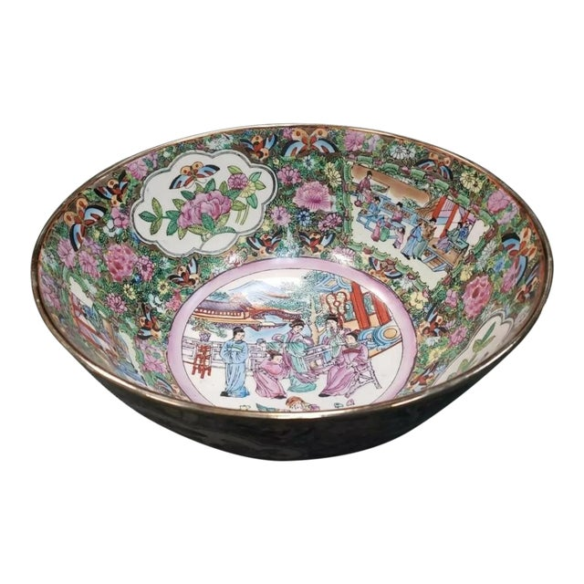Mid 20th Century Chinese Rose Medallion Porcelain Punch Bowl For Sale
