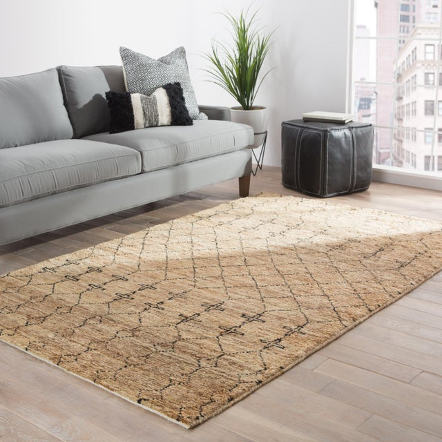 2010s Nikki Chu by Jaipur Living Lapins Natural Trellis Tan & Black Area Rug - 8' X 10' For Sale - Image 5 of 6