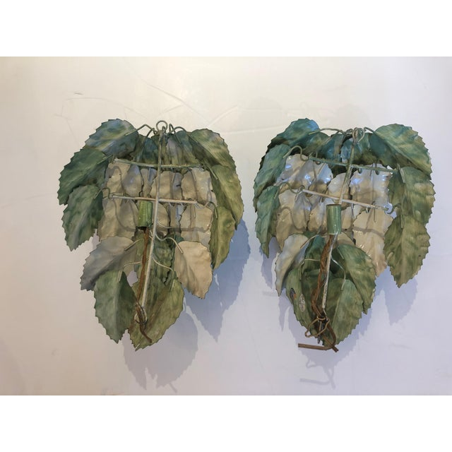 Leaf Motif Green Tole Wall Sconces- a Pair For Sale In Philadelphia - Image 6 of 9