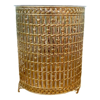 Mid Century Hollywood Regency Brass Faux Bamboo Waste Basket With Transparent Plastic Liner For Sale