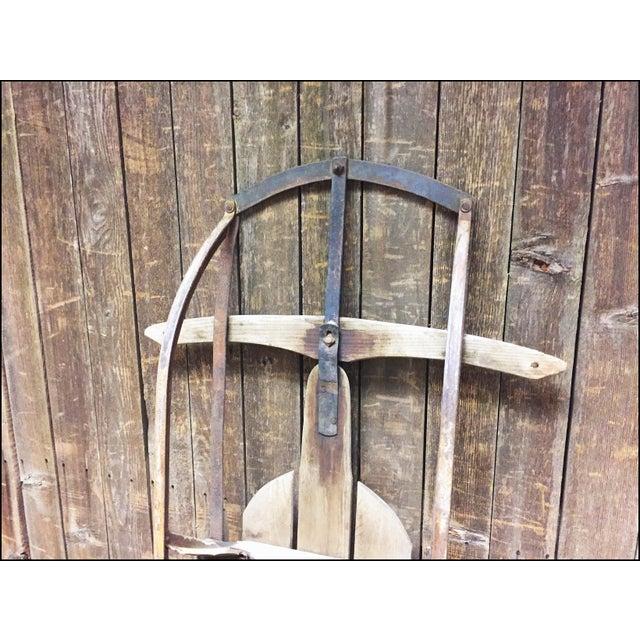 Vintage Weathered Wood & Metal Runner Sled -- Lightning Guider For Sale - Image 11 of 11