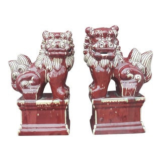 Vintage 16 in Ceramic Foo Dogs - a Pair For Sale