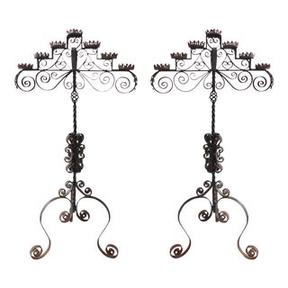 Wrought Iron Candelabra Candle Holder Candle Stand- a Pair For Sale