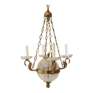 French Empire/Regency Style Figural Brass Swans & Crystal Ball Chandelier For Sale