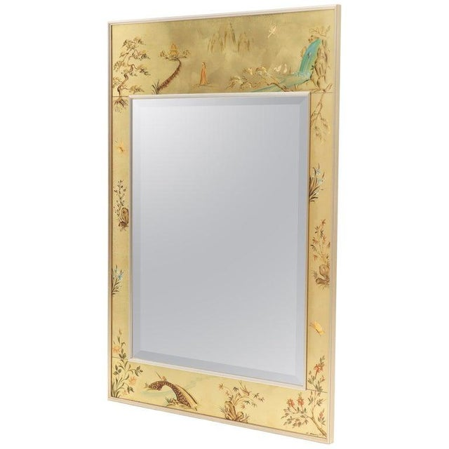 La Barge Reverse Painted Gold Leaf Rectangular Frame Decorative Mirror For Sale - Image 13 of 13