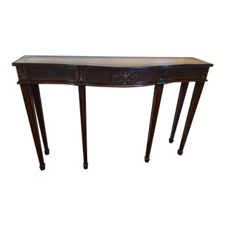 Maitland-Smith Mahogany Console Table With Leather Top For Sale