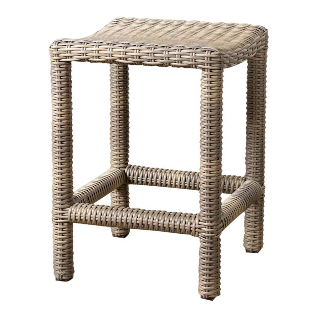 New Outdoor Parsons Counter Stool in Driftwood For Sale
