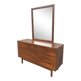 Mid Century Modern Six Drawer Dresser With Chrome Pulls For Sale