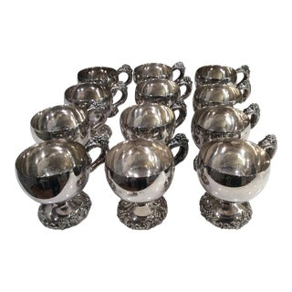 1950's Vintage Heavy Silverplate Punch Cups - Set of 12 For Sale