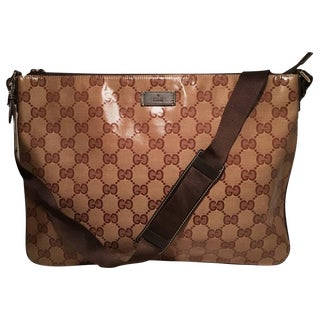 Gucci XL Coated Monogram Canvas Slim Messenger Shoulder Bag For Sale