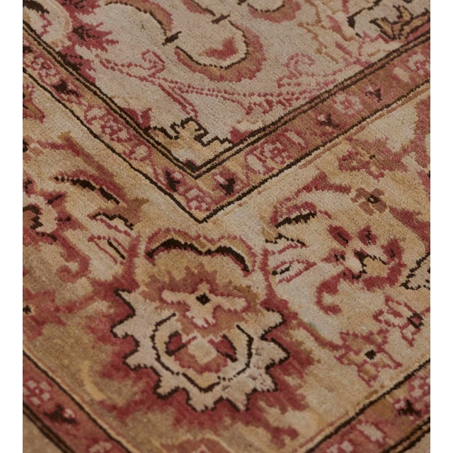 Burgundy Handwoven Revival Agra Style Wool Rug For Sale - Image 8 of 13