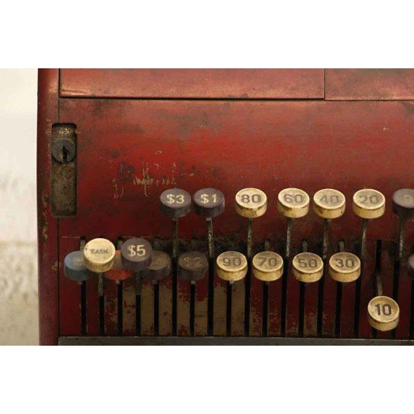 Rustic Red NCR Cash Register For Sale - Image 3 of 8