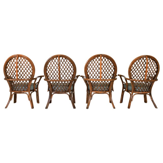 Mid-Century Fan Back Rattan Dining Chairs - Set of 4 For Sale - Image 4 of 9