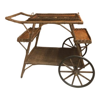 Vintage 1940 Wicker Tea Cart For Sale