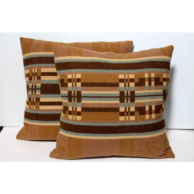 These pillows are cut from a fantastic, earth tone colors wool horse blanket from Pennsylvania. The backing is in a...