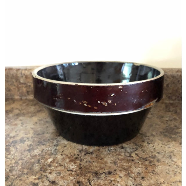 Final Markdown! 20th Century Rustic Stoneware Farmhouse Brown Bowl For Sale - Image 4 of 7