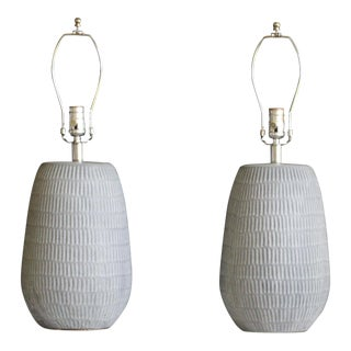 Reeded Nineteen Sixties Ceramic Table Lamps - a Pair For Sale