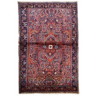 1920s, Handmade Antique Persian Sarouk Rug 3.2' X 5.2' For Sale