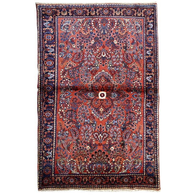 1920s, Handmade Antique Persian Sarouk Rug 3.2' X 5.2' For Sale