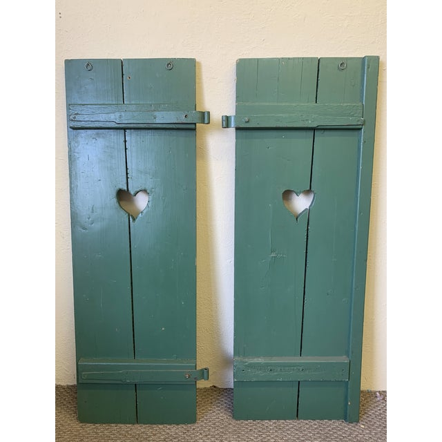 Green Large Antique Green Painted Window Shutters With Heart Cutouts - a Pair For Sale - Image 8 of 13