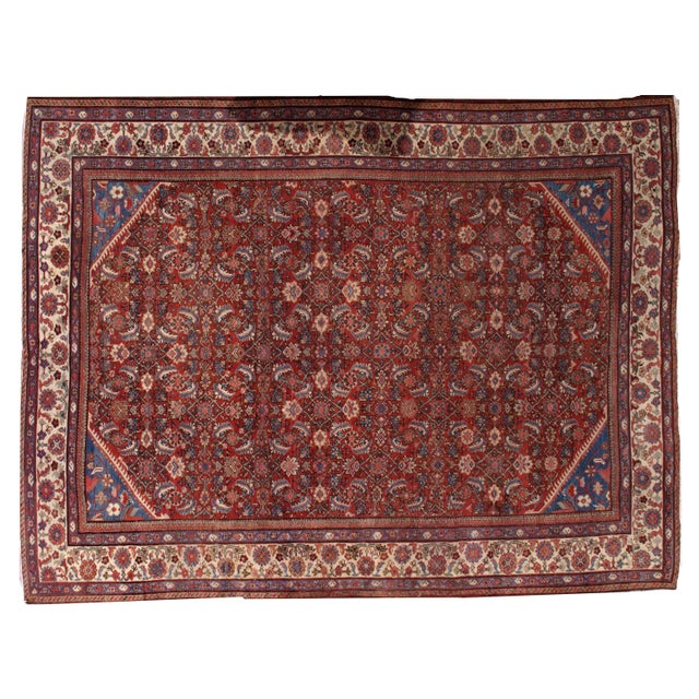 "Antique Persian Handmade Mahal Rug - 8'9"" X 11'7"" For Sale - Image 10 of 10"