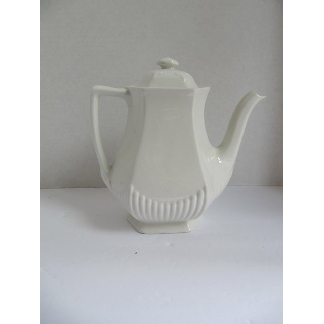 Vintage White Adams English Ironstone Coffee Pot For Sale - Image 4 of 4