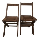Image of Antique Wood Folding Chairs - a Pair For Sale
