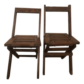 Antique Wood Folding Chairs - a Pair For Sale