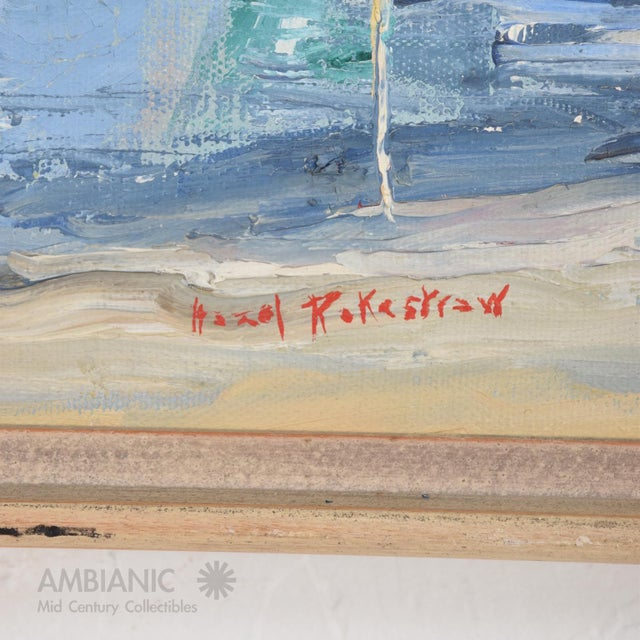Mid-Century Modern Oil in Canvas Hazel Rakestraw, Sailing Boats California Modern For Sale - Image 3 of 9