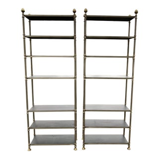 1960s Neoclassical Brass Etageres with Black Vinyl Upholstered Shelves - a Pair For Sale
