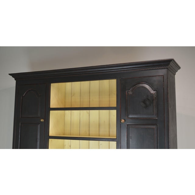 2000 - 2009 Monumental Custom Crafted Reproduction Country Painted Pine Step Back Hutch For Sale - Image 5 of 13