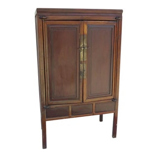 Two Door Chinese Provincial Round Corner Cabinet Mian Tiao Period For Sale