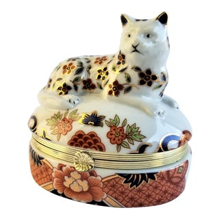Vintage Cat Limoges Style Andrea Sadek Porcelain Trinket Box For Sale
