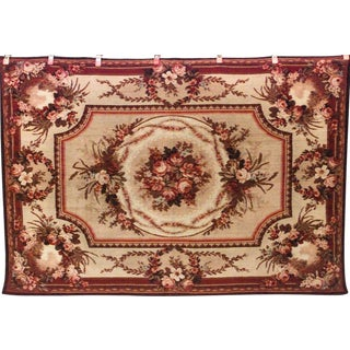 American Victorian Beige and Maroon Velvet Table Cover For Sale
