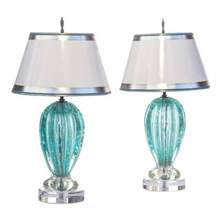 Vintage Murano Aquamarine Lamps - a Pair For Sale