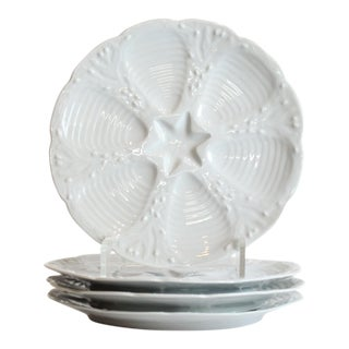 20th Century French Porcelain Oyster Plates - Set of 4 For Sale