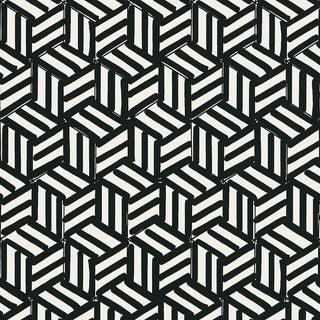 Sample - Schumacher Tumbling Blocks Wallpaper For Sale