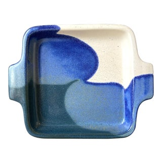 Vintage Black Blue and White Art Pottery Small Tray For Sale