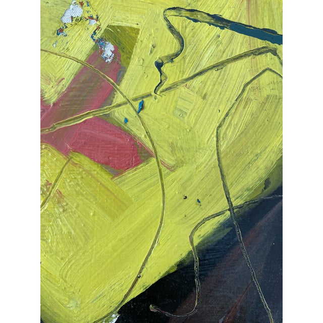 Vintage Postmodern Abstract Sgraffito Oil Painting For Sale - Image 11 of 13