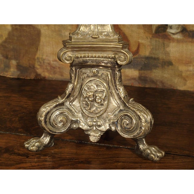Gold Antique Silvered Bronze Candlestick from France, Early 1800s For Sale - Image 8 of 11