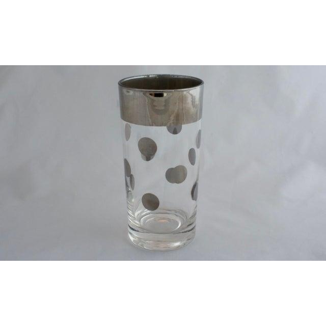 Mid-Century Modern Dorothy Thorpe Silver Rim Polka Dot Glasses - Set of 8 For Sale - Image 3 of 5